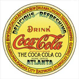 coca cola old logo metal sign