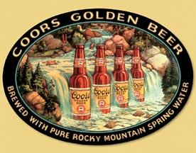 coors beer old metal sign