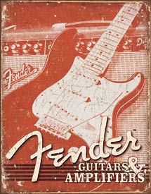 fender guitar metal sign