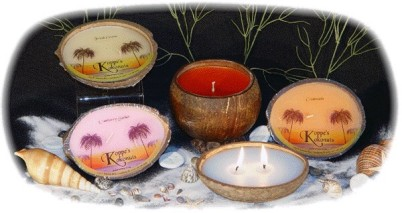 The Koppe's Kokonuts Kandles Line of Coconut Shell Scented Candles