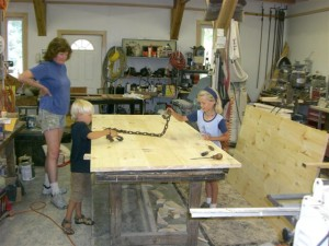 Hannah, Daniel and Jonathan came into the shop to work on distressing their soon to be new table