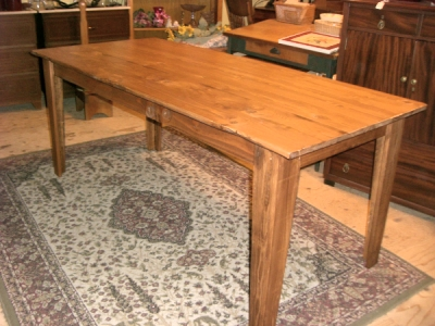 Recycled lumber farm table lengths are limited to about 76.